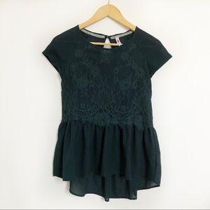 Xhilaration • Teal lace short sleeve blouse XS